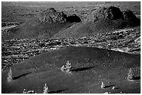 Cinder cone and lava plugs, Craters of the Moon National Monument. Idaho, USA ( black and white)