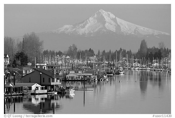 Houseboats on North Portland Harbor and snow-covered Mt Hood. Portland, Oregon, USA (black and white)