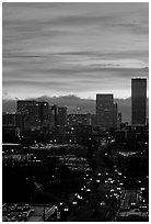 Skyline and bright sky at sunrise. Portland, Oregon, USA (black and white)