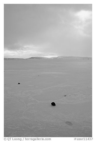 Pebbles on Frozen Klamath Lake. Oregon, USA (black and white)