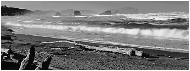 Oregon seascape with beach and surf. Bandon, Oregon, USA (Panoramic black and white)