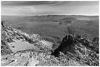Newberry Caldera area from Paulina Peak. Newberry Volcanic National Monument, Oregon, USA (black and white)