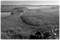 Lakes and lava flow, early morning. Newberry Volcanic National Monument, Oregon, USA (black and white)