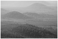 Old cinder cones in the distance. Newberry Volcanic National Monument, Oregon, USA (black and white)