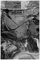 Close-up of obsidian glass. Newberry Volcanic National Monument, Oregon, USA (black and white)