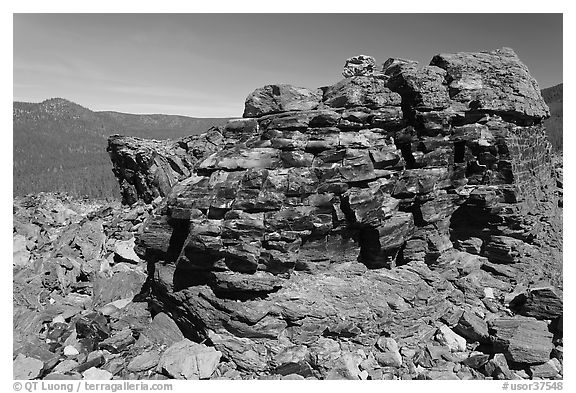 Obsidian glass formation. Newberry Volcanic National Monument, Oregon, USA (black and white)