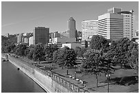 Tom McCall Waterfront Park and skyline. Portland, Oregon, USA ( black and white)