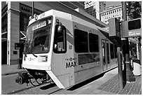 Tram, downtown. Portland, Oregon, USA (black and white)