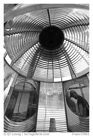 Light and glass prism, Cap Meares lighthouse. Oregon, USA (black and white)