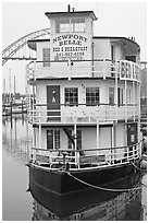 Newport Belle floating Bed and Breakfast. Newport, Oregon, USA (black and white)