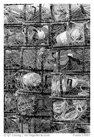 Close-up of traps used for crabbing. Newport, Oregon, USA (black and white)