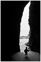 Infant and sea cave opening from inside. Bandon, Oregon, USA (black and white)