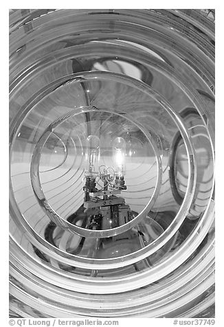 Light and lens inside Cape Blanco Lighthouse. Oregon, USA (black and white)