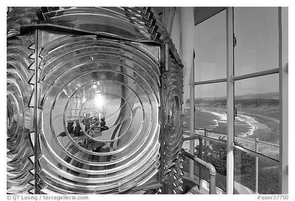 Light inside Cape Blanco Lighthouse tower and landscape. Oregon, USA (black and white)