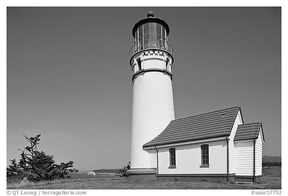 Lighthouse at Cape Blanco. Oregon, USA (black and white)