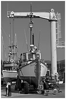 Fishing boats parked on deck, Port Orford. Oregon, USA (black and white)