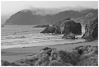 Solitary figure on beach, Pistol River State Park. Oregon, USA (black and white)