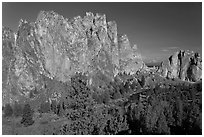 Cliffs called the Phoenix. Smith Rock State Park, Oregon, USA (black and white)