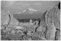 Mt Bachelor seen through Asterisk pass. Smith Rock State Park, Oregon, USA (black and white)