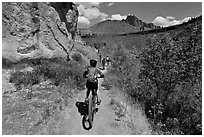 Mountain biking on teh Wolf Tree Trail. Smith Rock State Park, Oregon, USA (black and white)