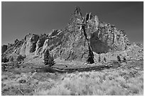 Ryolite cliffs. Smith Rock State Park, Oregon, USA ( black and white)