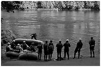 Rafting instruction, Ben and Kay Doris Park. Oregon, USA (black and white)