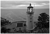 Heceta Head light and ocean,. Oregon, USA (black and white)