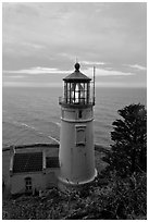 Heceta Head lighthouse at sunrise. Oregon, USA (black and white)