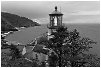 Heceta Head lighthouse and coastline. Oregon, USA ( black and white)