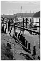 Harbor, Florence. Oregon, USA ( black and white)