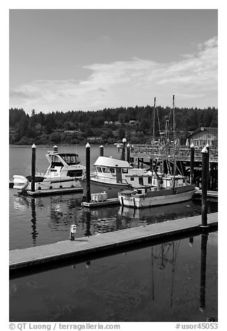 Siuslaw River and harbor, Florence. Oregon, USA (black and white)