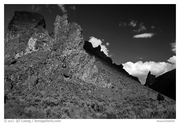 Shadows across spires,  Leslie Gulch BLM Area of Critical Environmental Concern. Oregon, USA (black and white)