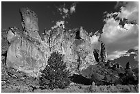 Roostercomb Rock, Leslie Gulch. Oregon, USA (black and white)