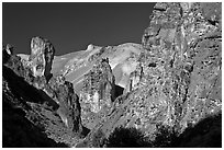 Volcanic rock formations, Leslie Gulch. Oregon, USA (black and white)