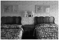 Beds in motel room, Cave Junction. Oregon, USA ( black and white)