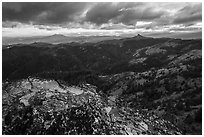 Outcrop and distant Pilot Rock, Hobbart Point. Cascade Siskiyou National Monument, Oregon, USA ( black and white)