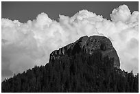 Pilot Rock and afternoon clouds. Cascade Siskiyou National Monument, Oregon, USA ( black and white)