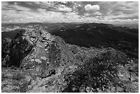 View over Soda Mountain Wilderness from top of Pilot Rock. Cascade Siskiyou National Monument, Oregon, USA ( black and white)