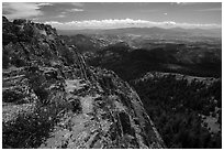 Pilot Rock top and Soda Mountain Wilderness. Cascade Siskiyou National Monument, Oregon, USA ( black and white)