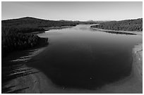 Aerial view of Hyatt Lake blue waters. Cascade Siskiyou National Monument, Oregon, USA ( black and white)
