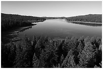 Aerial view of Hyatt Lake east shore. Cascade Siskiyou National Monument, Oregon, USA ( black and white)