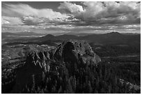 Aerial view of Pilot Rock from the north. Cascade Siskiyou National Monument, Oregon, USA ( black and white)