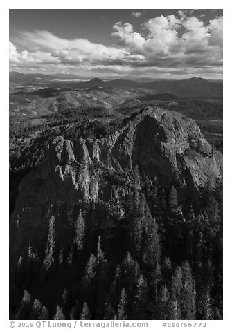 Aerial view of Pilot Rock, Siskiyou Moutains. Cascade Siskiyou National Monument, Oregon, USA (black and white)