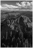 Aerial view of Pilot Rock, Siskiyou Moutains. Cascade Siskiyou National Monument, Oregon, USA ( black and white)