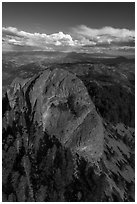 Aerial view of Pilot Rock and Mt Shasta. Cascade Siskiyou National Monument, Oregon, USA ( black and white)