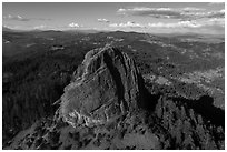 Aerial view of Pilot Rock from the south. Cascade Siskiyou National Monument, Oregon, USA ( black and white)