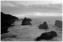 Seastacks and surf at sunset, Samuel Boardman State Park. Oregon, USA (black and white)