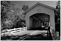 White covered bridge, Willamette Valley. Oregon, USA ( black and white)