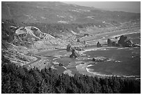 Coastline with highway and seastacks, Pistol River State Park. Oregon, USA (black and white)