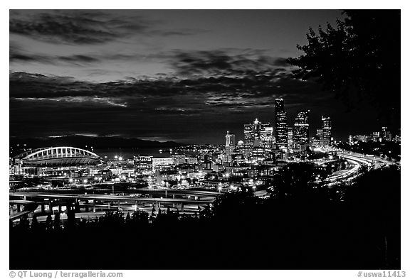 City skyline and Qwest Field at night. Seattle, Washington (black and white)